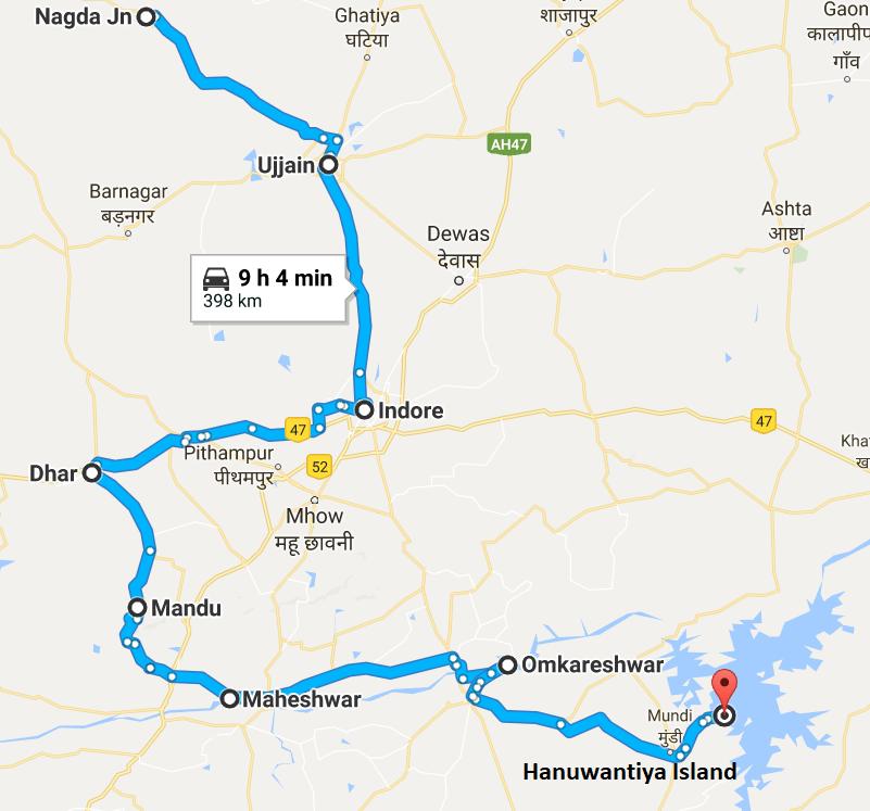 Ujjain India Map.Nagda Jn Ujjain Indore Dhar Mandu Maheshwar Omkareshwar Hanuwantiya